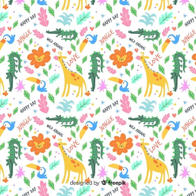 Kleurrijk dieren naadloos patroon Gratis Vector
