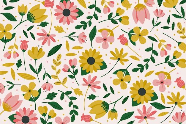 Kleurrijk ditsy bloemenprintthema voor behang Gratis Vector