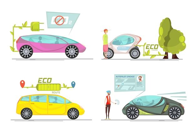 Kleurrijk eco vriendschappelijk elektrisch die auto's 2x2 concept op witte achtergrond wordt geïsoleerd Gratis Vector