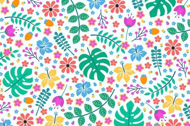 Kleurrijk exotisch bloemenontwerp als achtergrond Gratis Vector