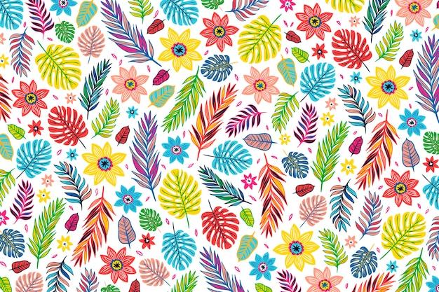 Kleurrijk exotisch bloemenprint behangontwerp Gratis Vector