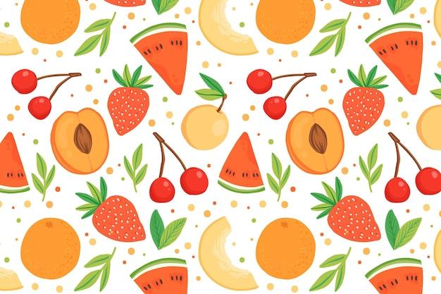 Kleurrijk fruitpatroon Gratis Vector