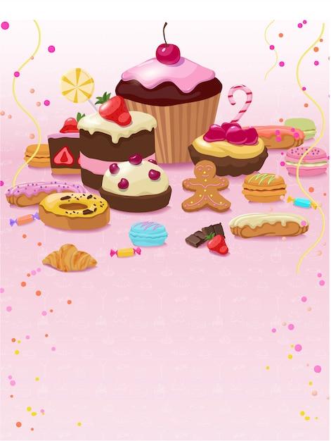 Kleurrijk gebak en zoetwarenmalplaatje Gratis Vector