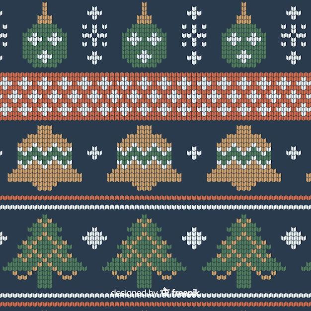 Kleurrijk gebreid kerstpatroon Gratis Vector