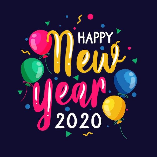 Kleurrijk gelukkig nieuw jaar 2020-van letters voorzien Gratis Vector