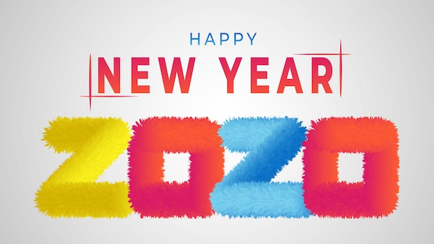 Kleurrijk gelukkig nieuwjaar 2020 Premium Vector