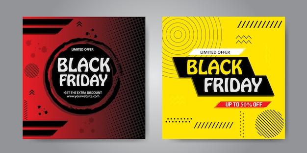 Kleurrijk geschilderde banner voor zwarte vrijdagset Premium Vector
