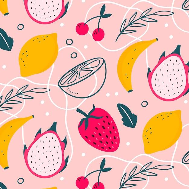 Kleurrijk getrokken fruitpatroon Gratis Vector