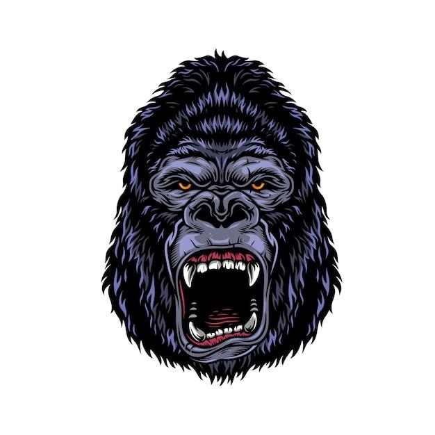 Kleurrijk gevaarlijk boos gorillahoofd Gratis Vector