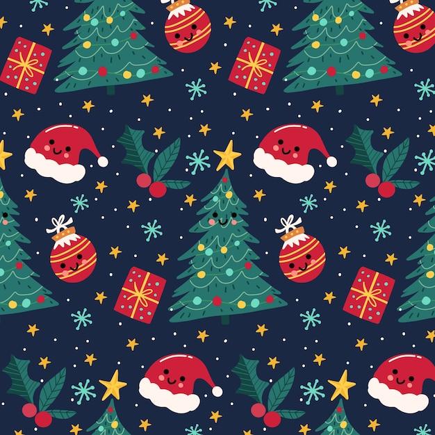 Kleurrijk grappig kerstpatroon Gratis Vector