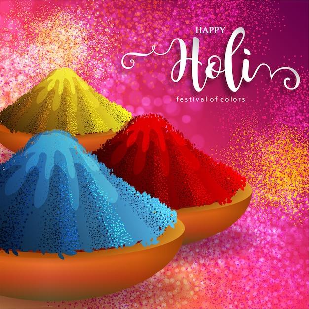 Kleurrijk gulaal poederkleur indisch festival voor gelukkige holi-kaart met goudpatroon en kristallen op papierkleur Gratis Vector