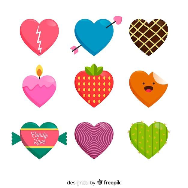Kleurrijk hartpakket Gratis Vector