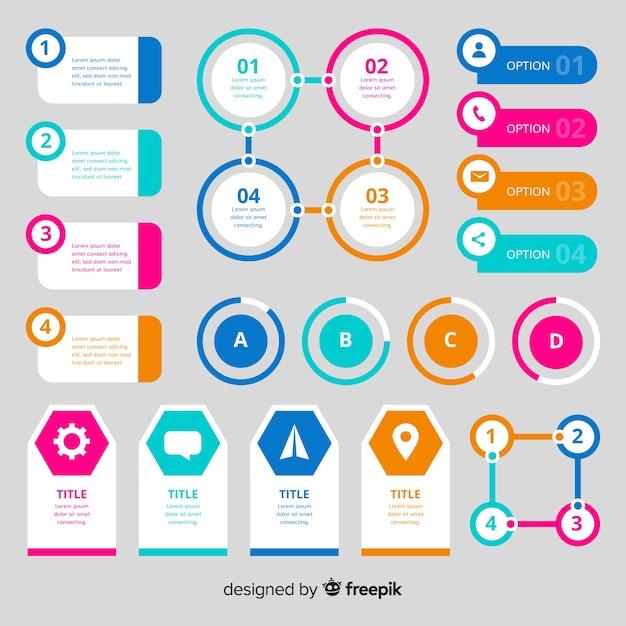 Kleurrijk infographic element vlak ontwerp Gratis Vector