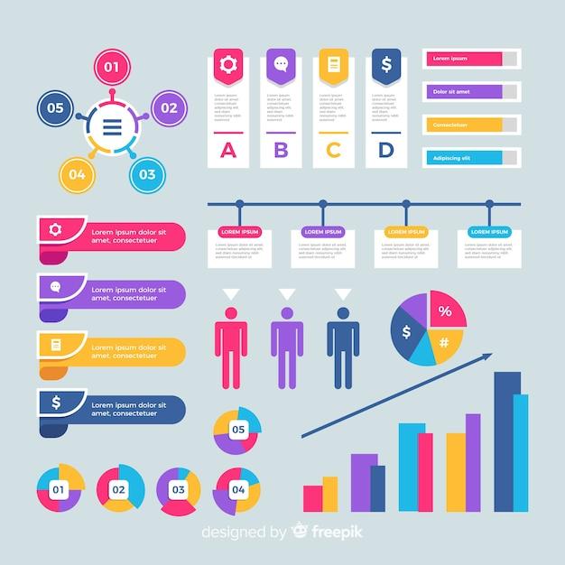 Kleurrijk infographic elementen vlak ontwerp Gratis Vector