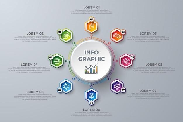 Kleurrijk infographic-malplaatjedesign met 8 proceskeuzen of stappen. Premium Vector
