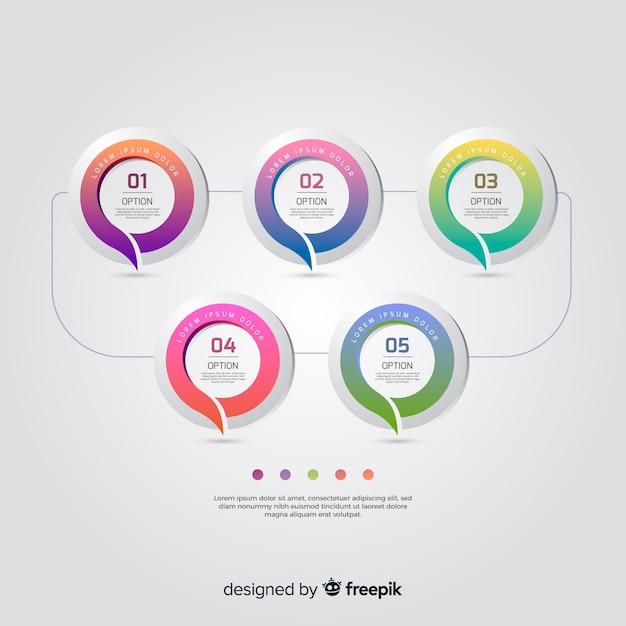 Kleurrijk infographic sjabloon plat ontwerp Gratis Vector