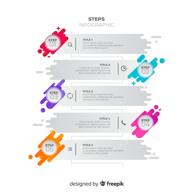 Kleurrijk infographic stappen vlak ontwerp Gratis Vector