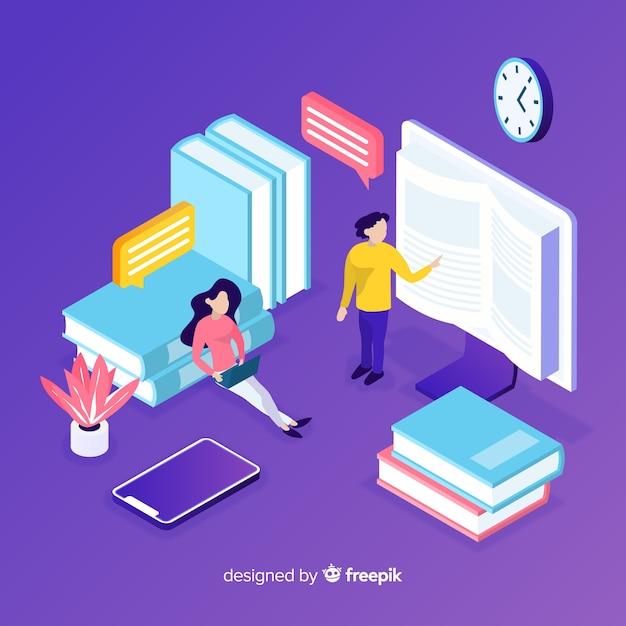Kleurrijk isometrisch online onderwijsconcept Gratis Vector