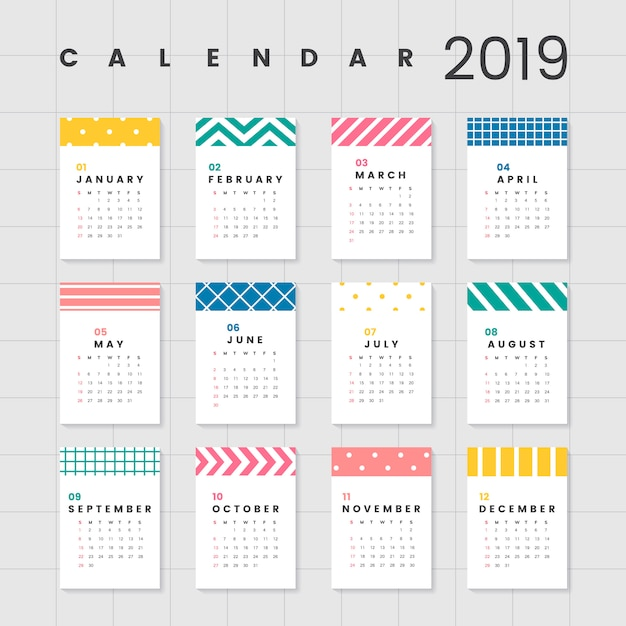 Kleurrijk kalendermodel Gratis Vector