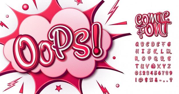 Kleurrijk komisch lettertype. cartoon roze alfabet in pop-artstijl Premium Vector