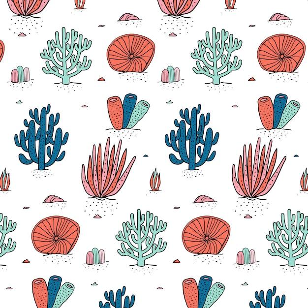 Kleurrijk koraalpatroon Gratis Vector