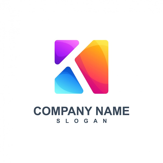 Kleurrijk letter k logo-ontwerp Premium Vector