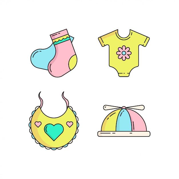 Kleurrijk leuk die babypictogram in monolinestijl wordt geplaatst Premium Vector