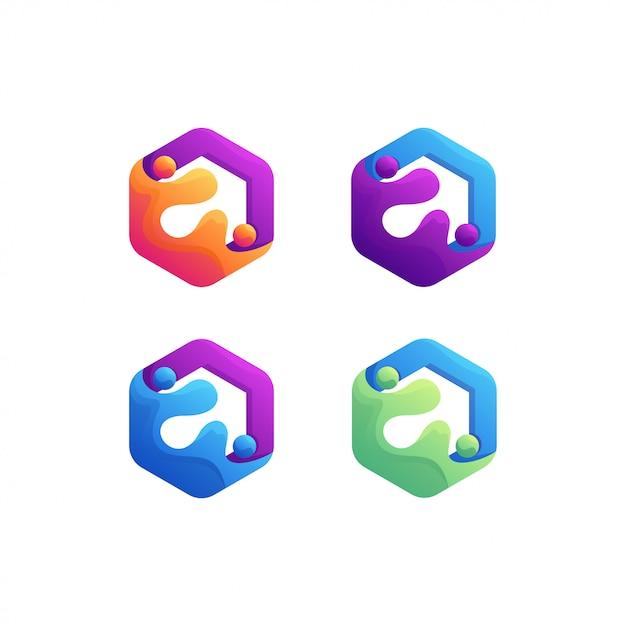 Kleurrijk logo Premium Vector