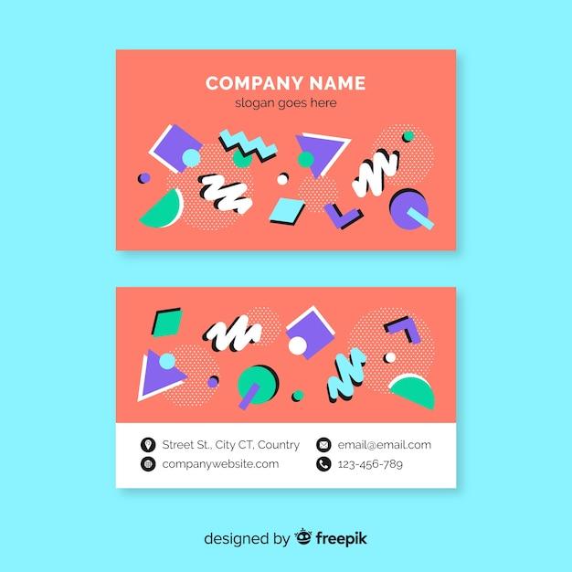 Kleurrijk memphis-visitekaartje Gratis Vector