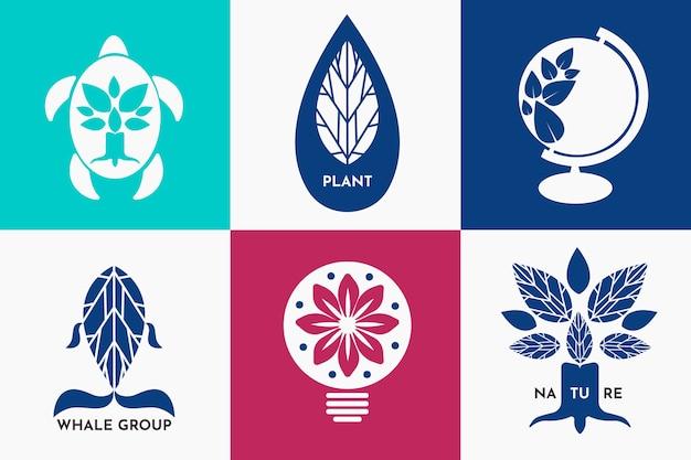 Kleurrijk minimaal logo in retro stijl Gratis Vector