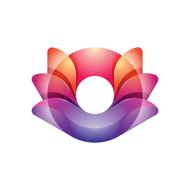Kleurrijk modern lotus yoga-logo Premium Vector
