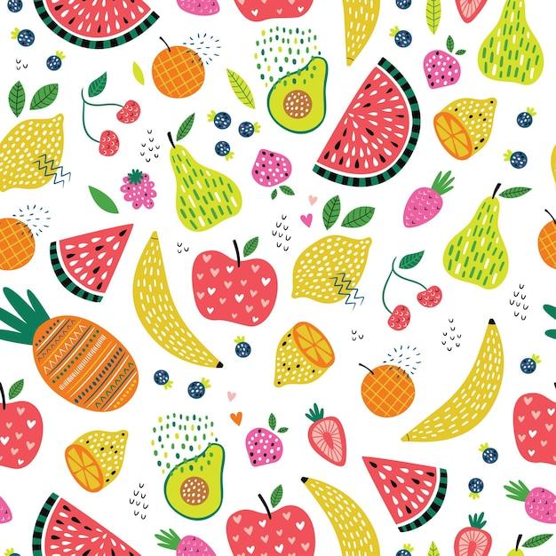 Kleurrijk naadloos patroon met het leuke fruit en de bessen van de beeldverhaalkrabbel Premium Vector