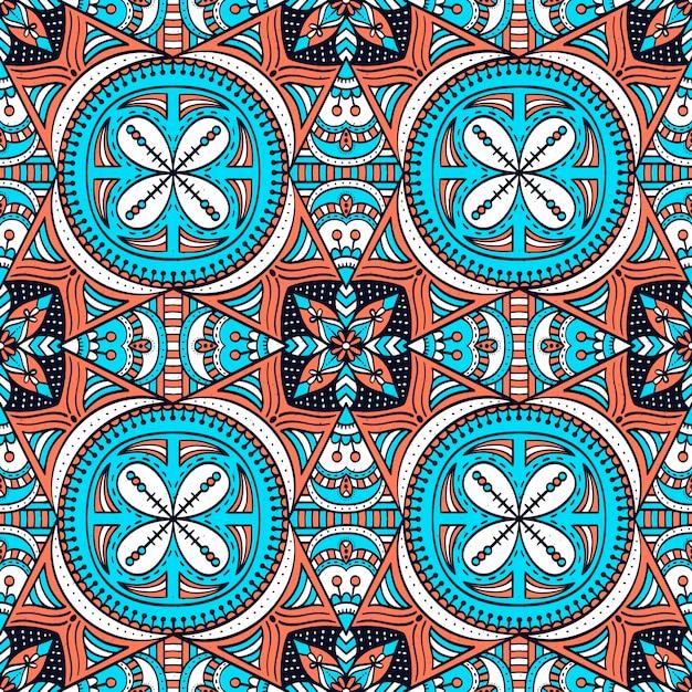 Kleurrijk naadloos patroon met mandala Premium Vector