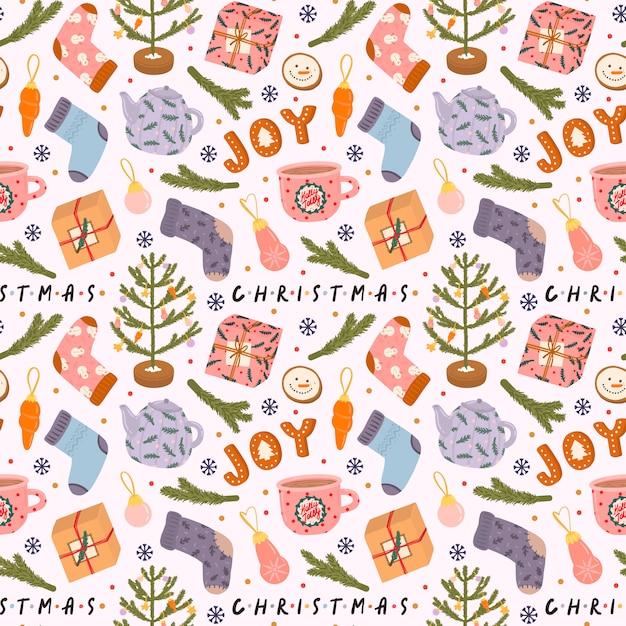 Kleurrijk naadloos patroon met traditionele de winterelementen voor kerstmis en nieuwjaar in hygge-stijl Premium Vector