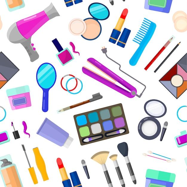 Kleurrijk naadloos patroon van hulpmiddelen voor make-up en schoonheid op wit Premium Vector