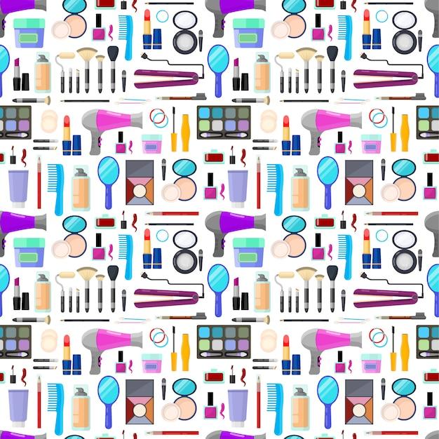 Kleurrijk naadloos patroon van hulpmiddelen voor make-up en schoonheid Premium Vector
