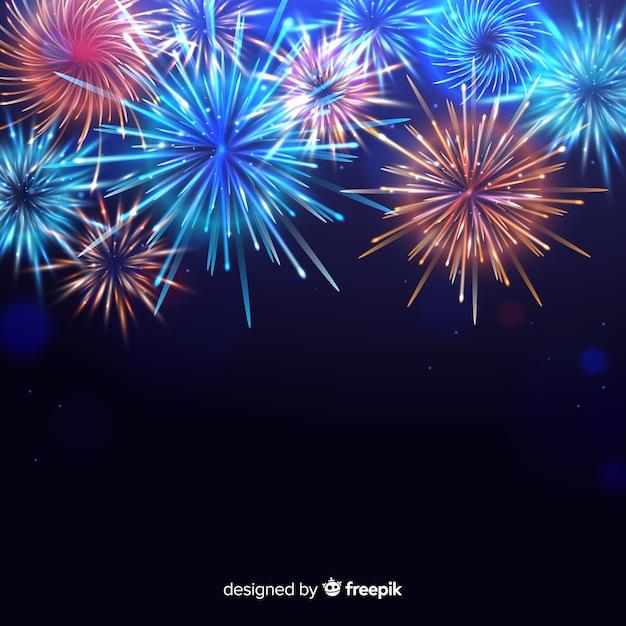 Kleurrijk nieuw jaar 2020 vuurwerk Gratis Vector