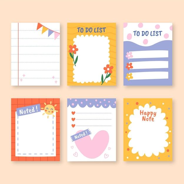 Kleurrijk ontwerp van plakboek en notities Gratis Vector