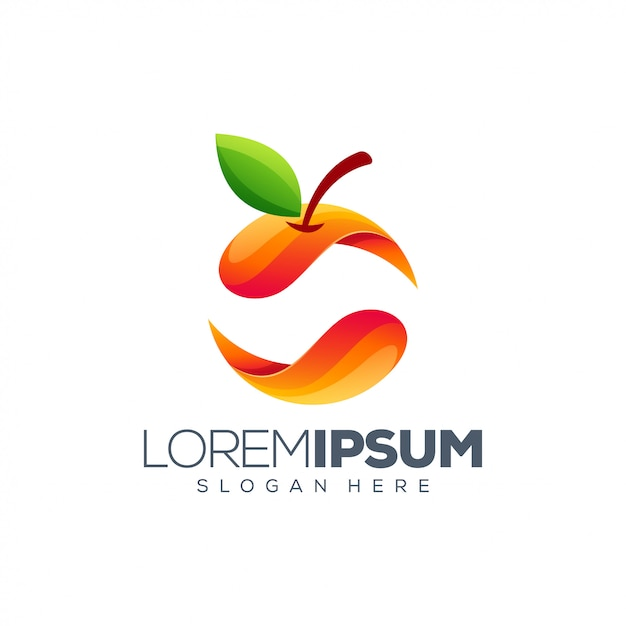 Kleurrijk oranje logo Premium Vector