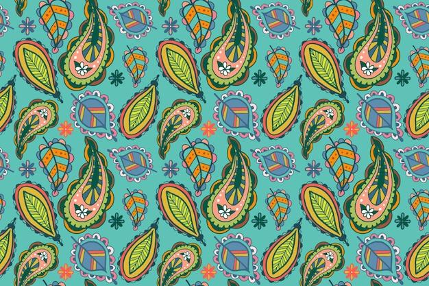 Kleurrijk paisley etnisch patroon Gratis Vector