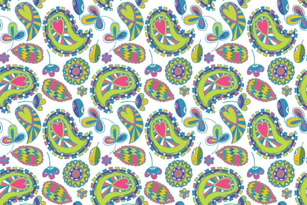 Kleurrijk paisley patroon Gratis Vector