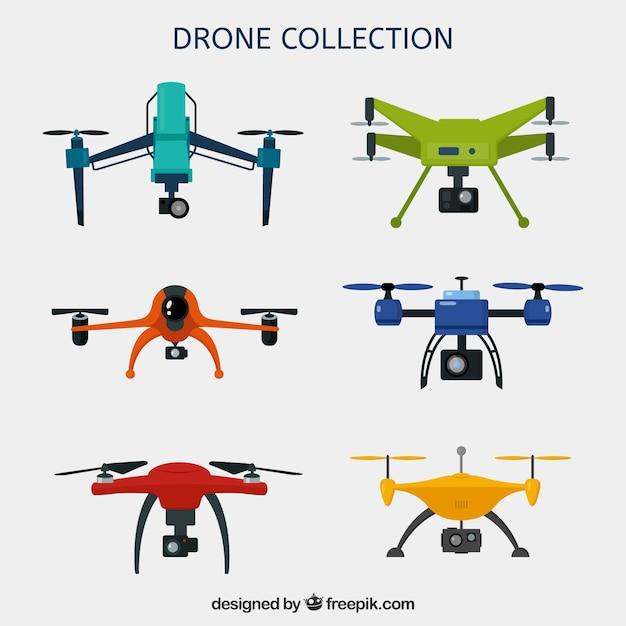 Kleurrijk pak moderne drones Gratis Vector
