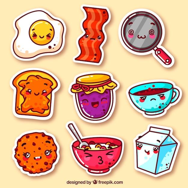 Kleurrijk pak van grappige voedsel stickers Premium Vector