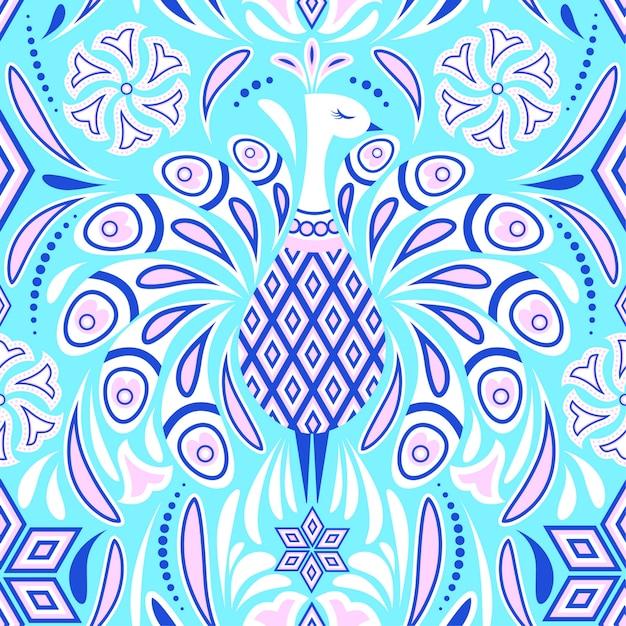 Kleurrijk patroon met pauw Premium Vector