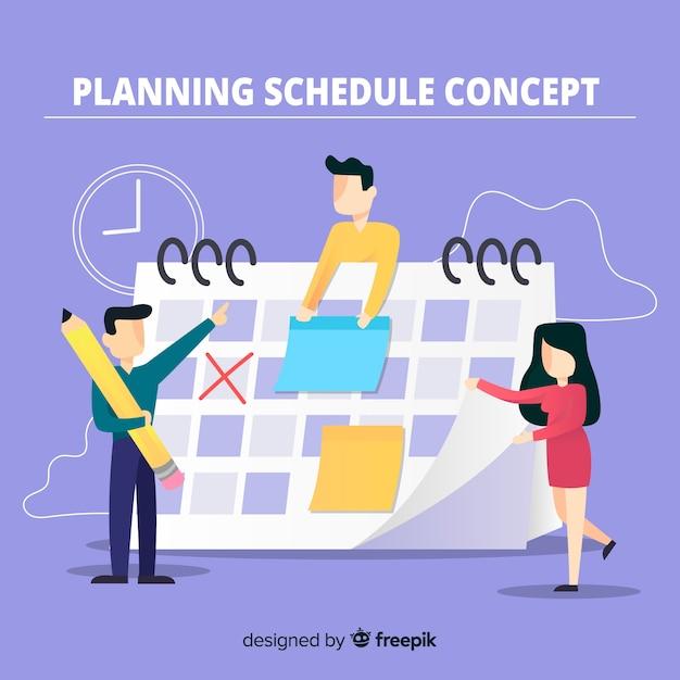 Kleurrijk planning planning concept met platte ontwerp Gratis Vector