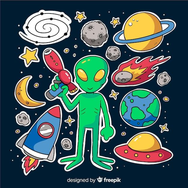 Kleurrijk ruimtesticker collectieontwerp Gratis Vector