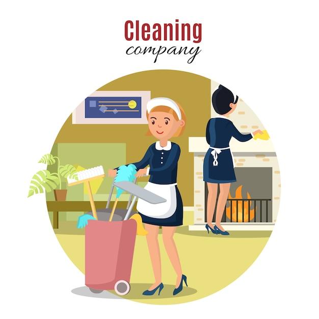 Kleurrijk schoonmaak serviceconcept Gratis Vector