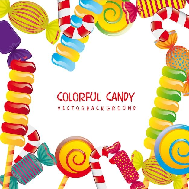 Kleurrijk suikergoed over witte vectorillustratie als achtergrond Premium Vector