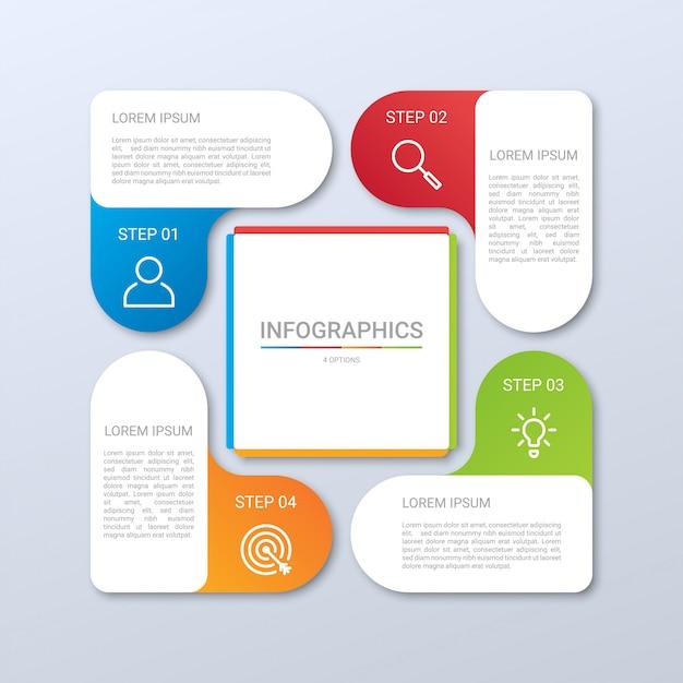 Kleurrijk tijdlijn infographic sjabloon met 4 stappen op grijze achtergrond, illustratie Premium Vector