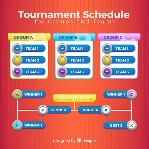 Kleurrijk toernooischema met plat ontwerp Gratis Vector